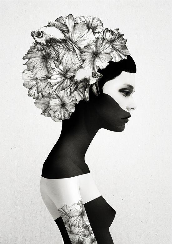Marianna - Ruben Ireland & Jenny Liz Rome #wall #art #print #society6 #headdress #flowers