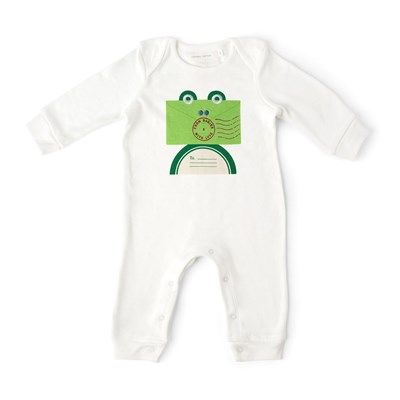 #FromBabiesNew Clever, engaging frog motif on this babygro. Not sickly cute but funny and eyecatching