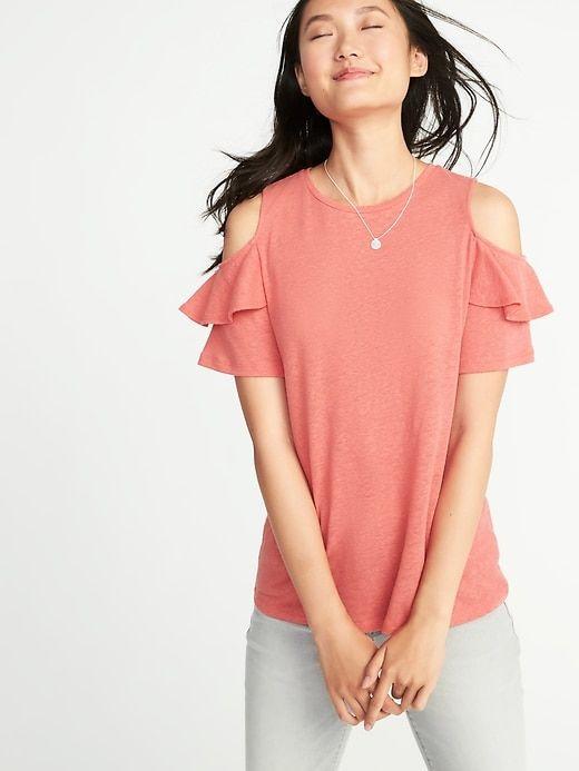 843e9c189b497f Relaxed Linen-Blend Cold-Shoulder Top for Women | Spring Summer ...