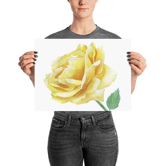 Yellow Rose watercolor painting Rose decor flower wall art