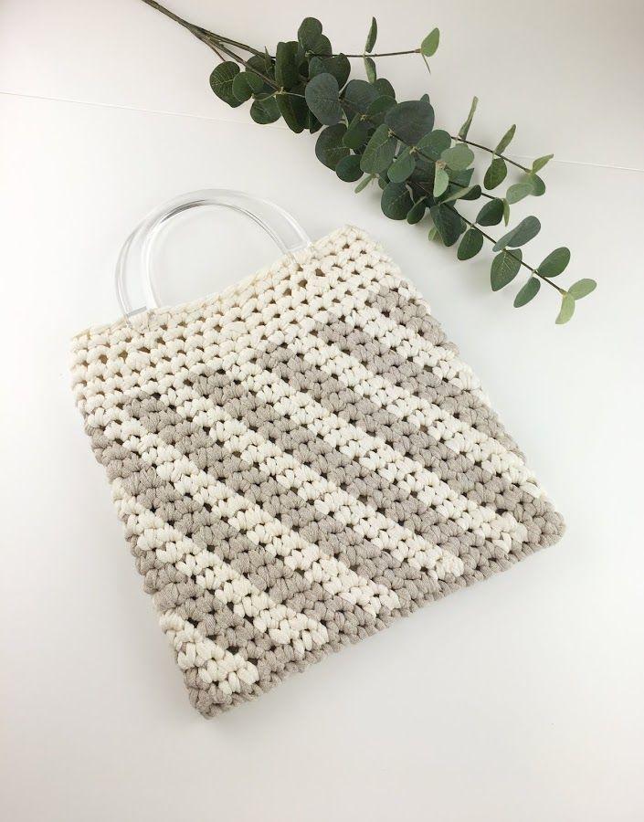 9fcdfad3c Bolso de ganchillo a rayas | Bolsos en crochet | Crochet, Knitting y ...