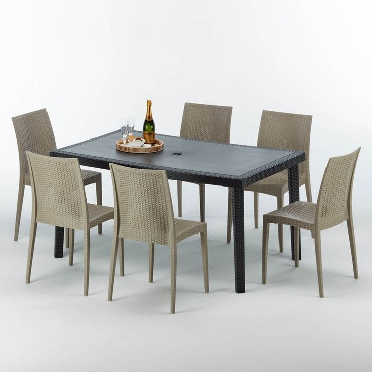 Table Rectangulaire Et 6 Chaises Poly Rotin Colorees 150x90cm Noir Bistrot Beige Juta Grand Soleil Table Colorful Chairs Home Decor Ideas Apartment Couples