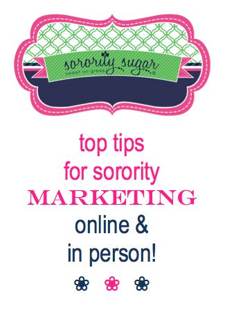 Marketing is becoming more and more popular with sorority chapters. Check out the sorority sugar top PR things to become involved in for promoting your chapter to other greeks, your college community and PNMs. Get some tips for online & in-person marketing. <3 BLOG LINK: http://sororitysugar.tumblr.com/post/92961077164/tips-for-sorority-marketing-online-in-person#notes