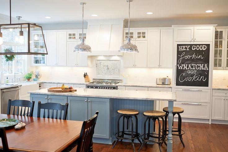Industrial Cottage Blue Amp White Kitchen Chalkboard