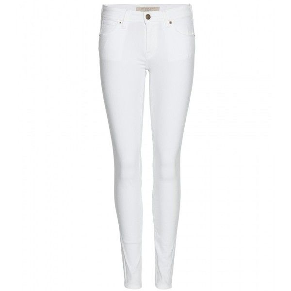 Burberry Brit Low-Rise Skinny Jeans (1.145 BRL) ❤ liked on Polyvore featuring jeans, pants, bottoms, jeans/pants, skinny jeans, white, white denim skinny jeans, burberry, burberry jeans and skinny fit jeans