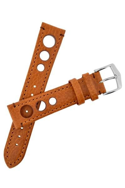 Hirsch RALLY Natural Leather Racing Watch Strap in GOLD BROWN