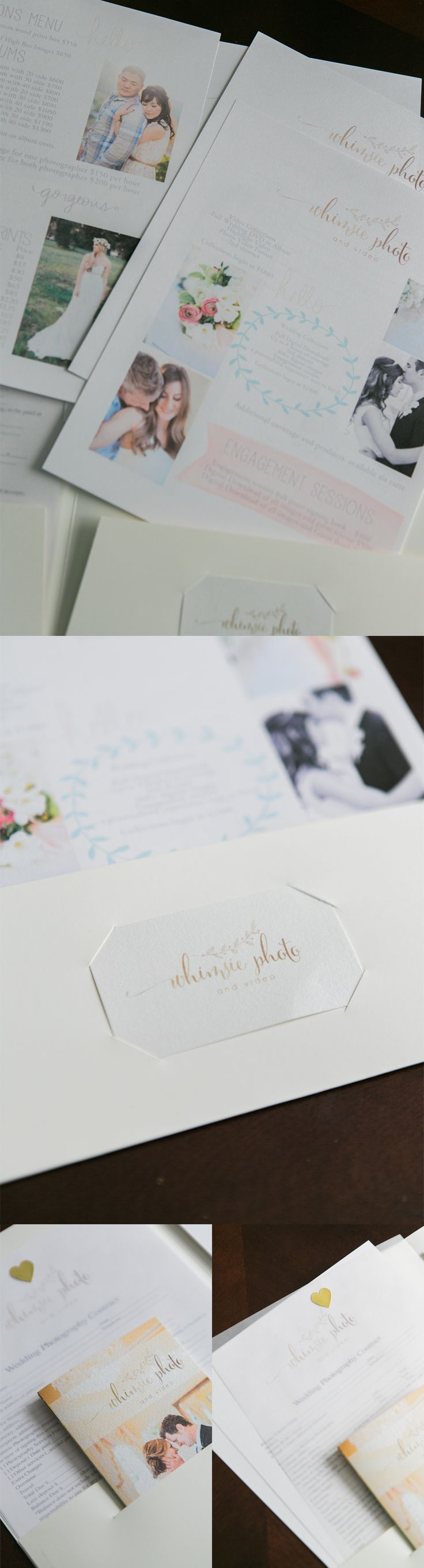 High end wedding photography wedding packet design with wedding contract and timeline