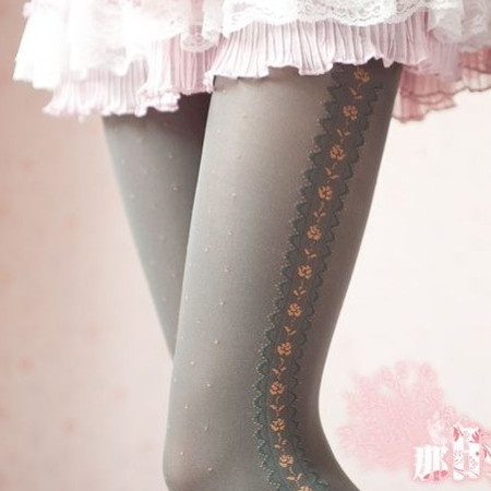 2013 Spring black gray retro stockings thick section vertical striped lace flowers dot was thin pantyhose sub-ZZKKO