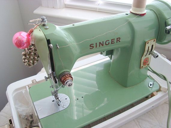 Singer Sewing Machine 185J Jadite Green Color in White Plastic Case Vintage Mid Century with pdf owners manual on Etsy, $150.00