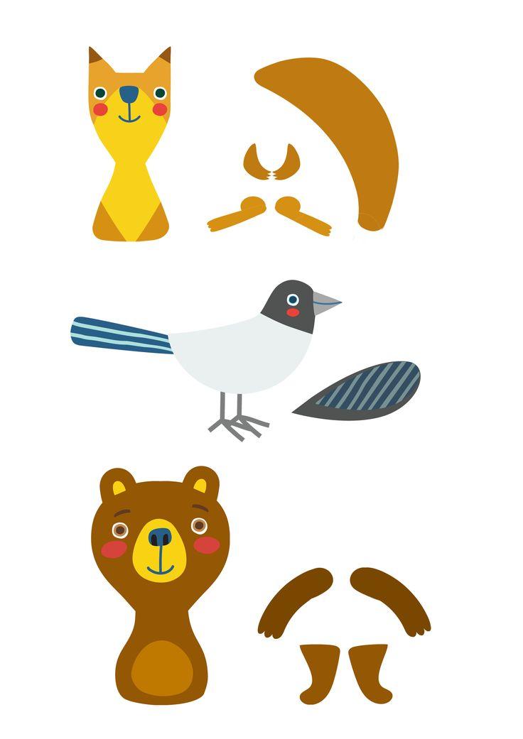 Pikku Kakkosen tulostettavat eläinhahmot.  Free printable pattern. lasten | askartelu | joulu | käsityöt | koti | leikki | DIY ideas | kid crafts | christmas | home | Pikku Kakkonen