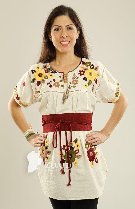 mano de por zoatl blusas vestidos bordados con bordados blusa en