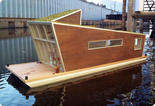 The schwimhaus tiny floating house tiny houses - The dune house the floating roof ...