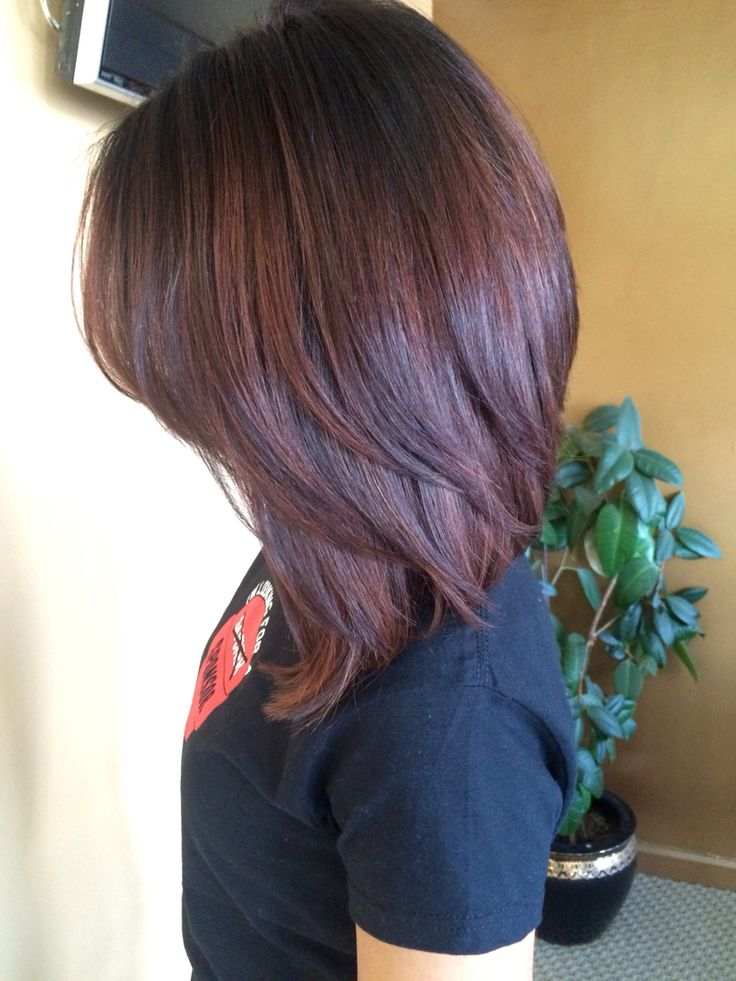 Short Haircut Style Ideas Dark Root Color Melted Into A Red Brown Bob Hair Color