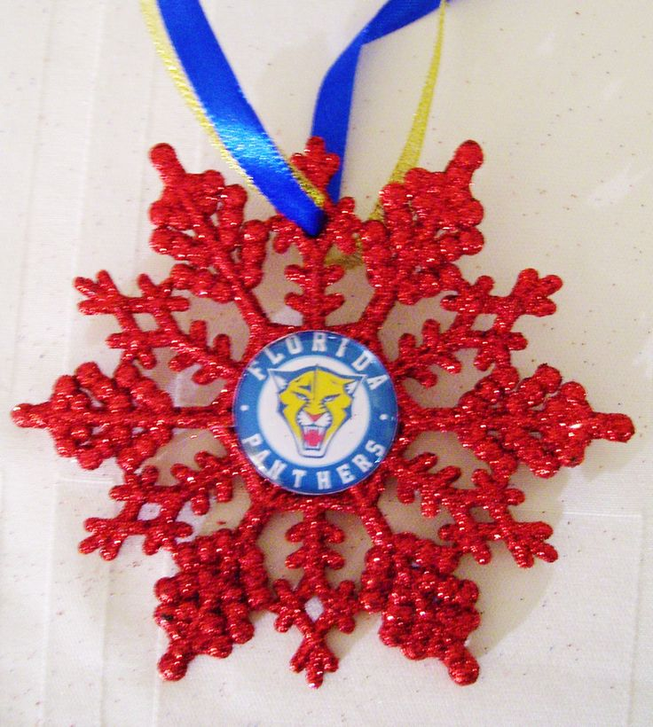 Florida PANTHERS Hockey Fans!! Handmade Glitter Snowflake by ZZsTeamTime on Etsy