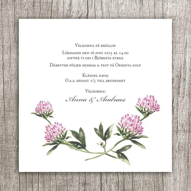 Flera klöver - Ett nytt inbjudningskort till bröllop, dop eller fest. Illustration Anna Göran Design