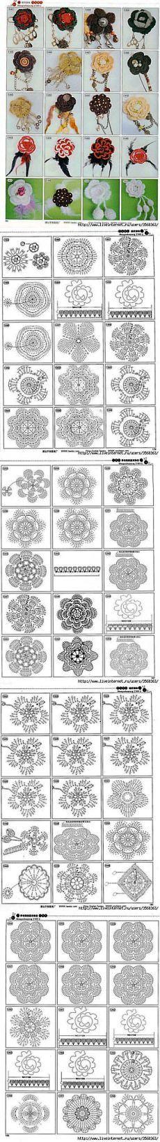 Вязаные цветы крючком со схемами | SexyCrochet.COM