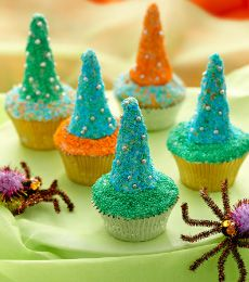 Chocolate Wizard Hat Cupcakes - Put a smile on everyone's faces with these cute and yummy chocolate wizard hats cupcakes. Make them any colour your wizard likes!