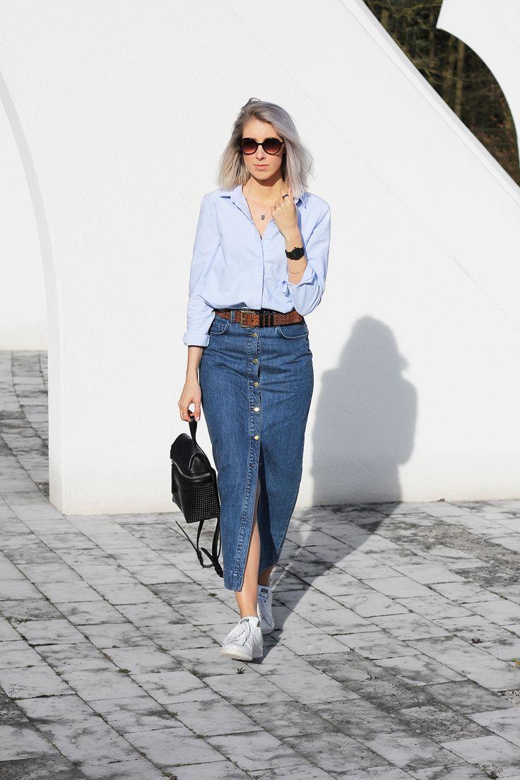 Button-front denim skirt | MyDubio