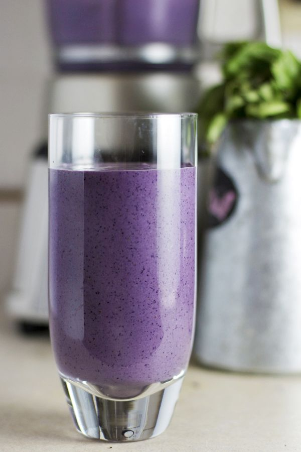 Blueberry Basil Smoothie -- this is my favorite smoothie combination. The basil adds an unexpected taste and goes really well with the blueberries. I show how to naturally add protein to this smoothie.
