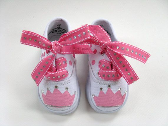 Girls Princess Shoes, Baby and Toddler, Tiara, Birthday, Canvas Sneakers, Hand Painted on Etsy, $30.00