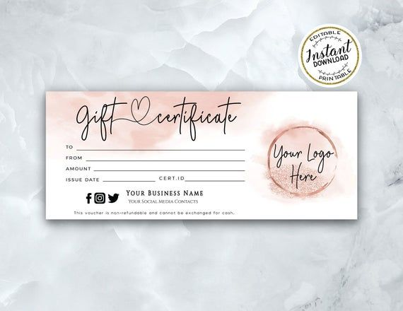 Add Your Logo Gift Certificate Template Modern Rosegold Printable Gift Card Peach Coral Editable Gift Voucher Instant Download In 2021 Gift Certificate Template Printable Gift Cards Certificate Templates
