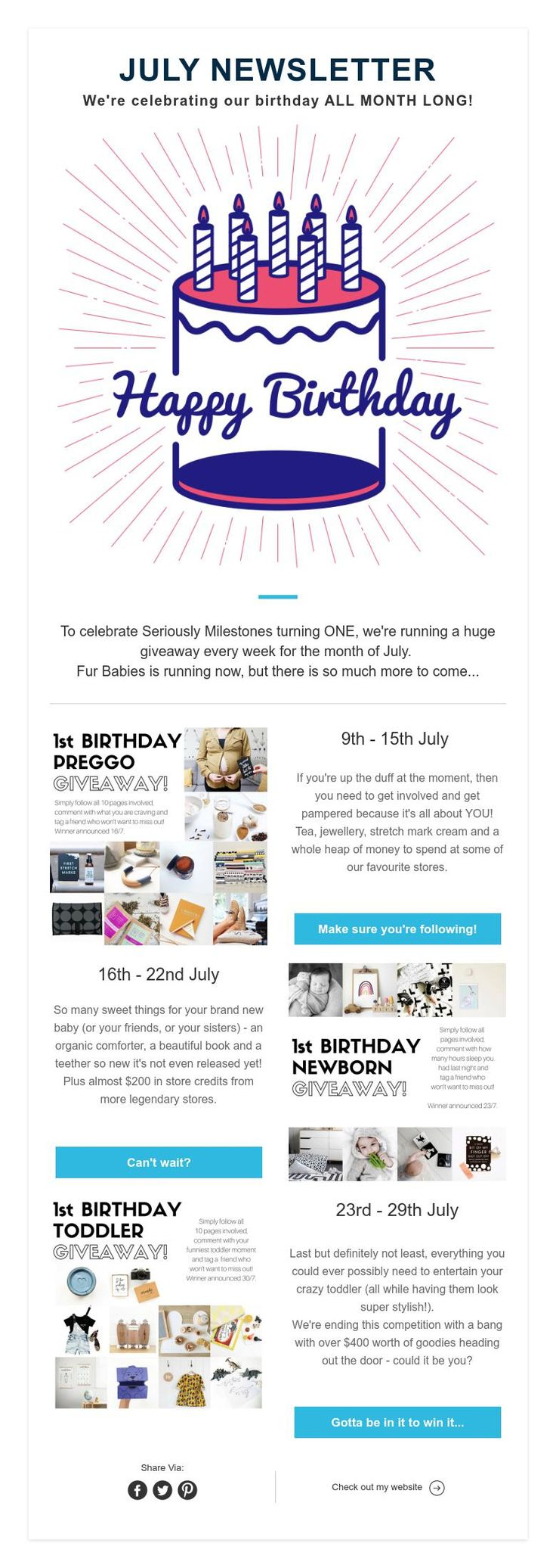 JULYNEWSLETTER  We're celebrating our birthday ALL MONTH LONG!