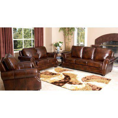 Abbyson Karington 3 Piece Hand Rubbed Leather Sofa Set - Brown - SK-7020-BRN-3/2/1