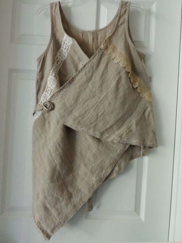 Lagenlook, Victorian, features vintage lace, pure linen, cloth flower, pearl color lace.