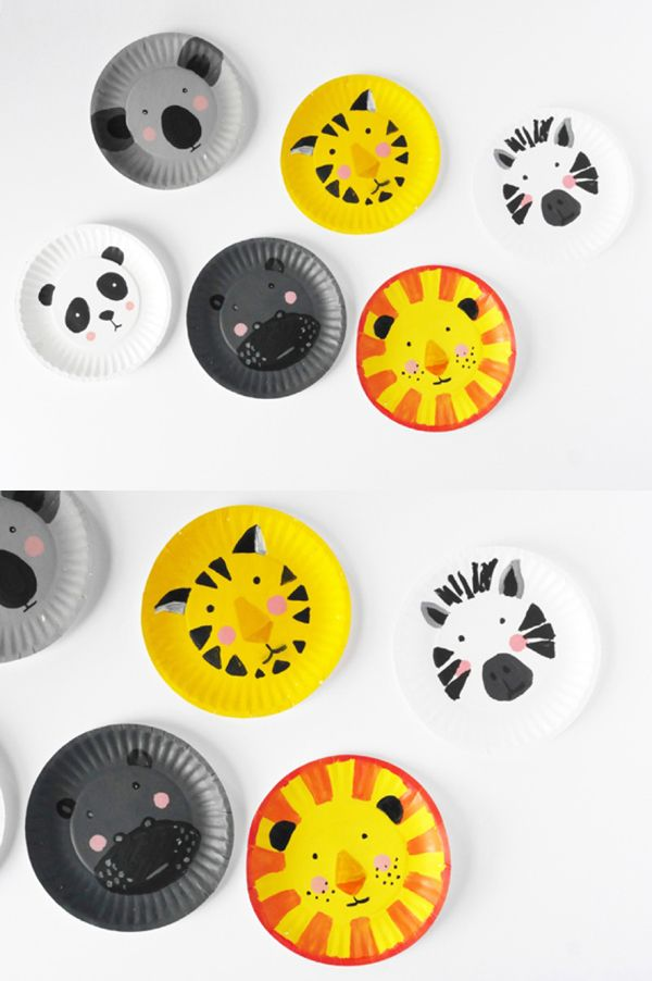 DIY Animal Paper Plate Faces. Fun craft for pretend play or hang these up on the wall for a silly kids room decor.