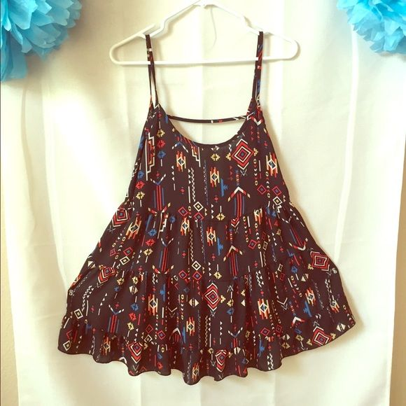 Black Aztec Summer Dress  Chiffon Super flowy dress, you can where leggings or tights with it. I would wear maroon knit tights. .  ***Size large, but fits small** Dresses Mini