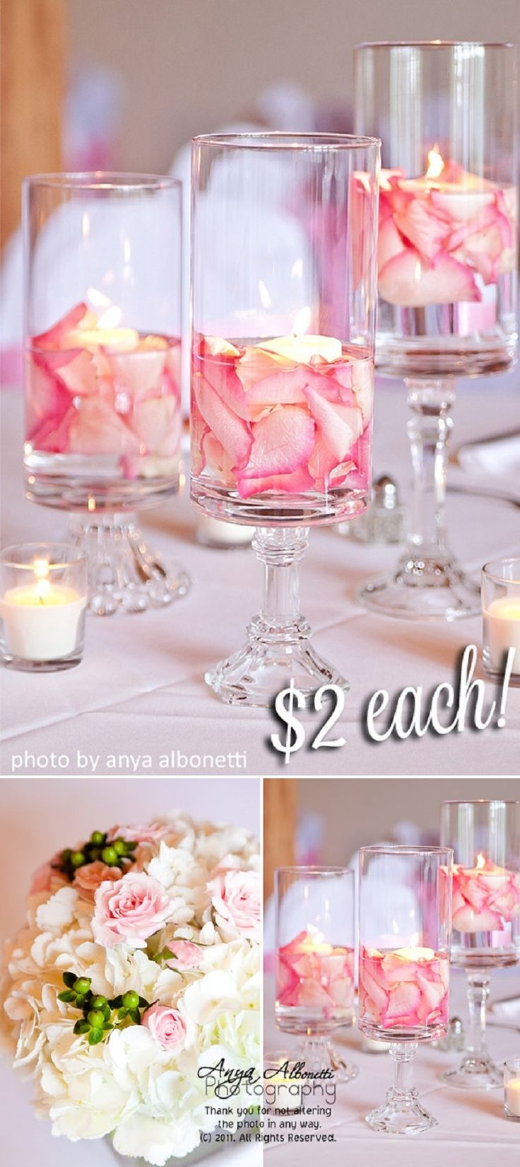 DIY Floating Candles with Rose Petals - 15 Cozy DIY Floating Candle Centerpieces for Any Occasion