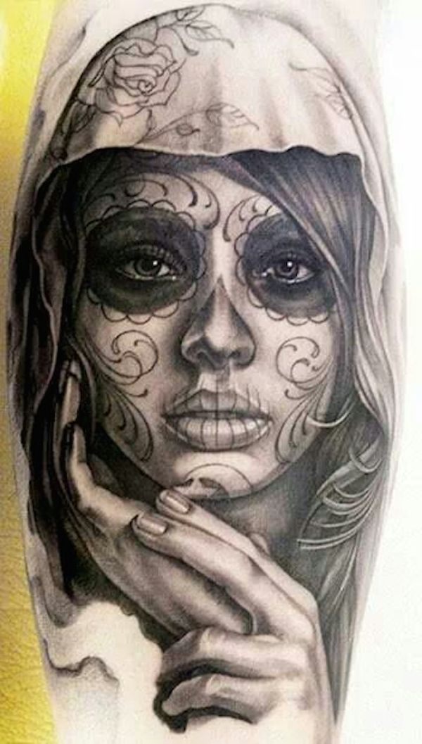 The day of the dead tattoos are made in honour of loved ones who have passed on.