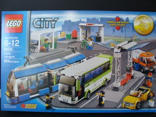 NEW-LEGO-City-Public-Transport-8404-Tram-Bus-Train-Station-Street-Sweeper-Car