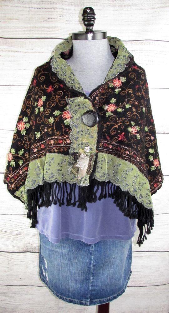 6253df5af1b2d Embroidered Boiled Wool Shrug Cape Carla Country Cottage Boho Gypsy  Victorian  Handmade  BoleroShrug
