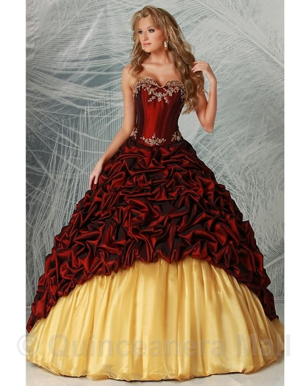 Red And Gold Masquerade Ball Gowns