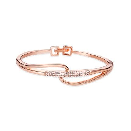 Simple Fashion 18K Gold Plated Bangle, with Micro Pave AAA Zircon Band, Rose Gold; Size:about 180mm in perimeter, 14mm wide.<br/>Priced per 1