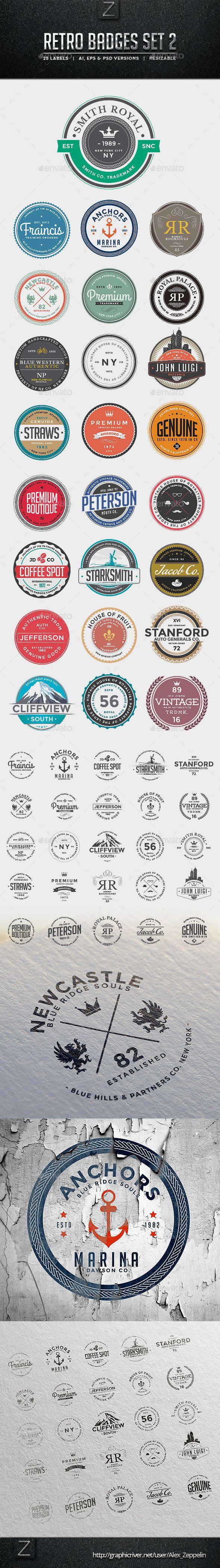 Retro Badges Set   #retrobadges #retro #badges  Download: http://graphicriver.net/item/retro-badges-set-2/10070679?ref=ksioks