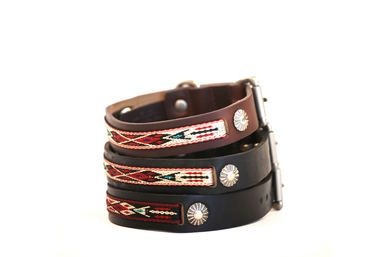 Small leather dog collar with a southwestern pattern on nylon inlayed on a distressed black leather. Available in multiple sizes for smaller dogs.