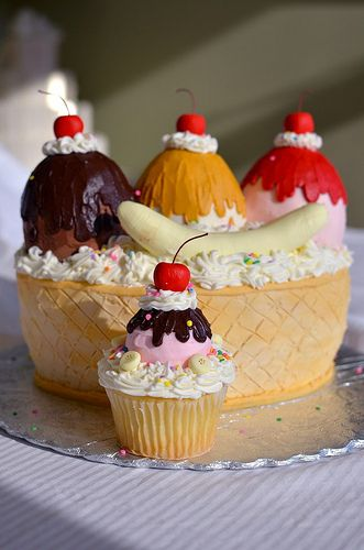 Awesome,fun,lovely and really beautifully done Banana Split kids birthday cupcakes with cherry toppings.so, which one is yours??