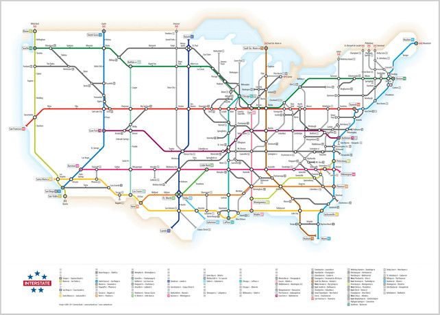 Pretty awesome subway-style map of the U.S. Interstate Highway System, discovered via david.povill.