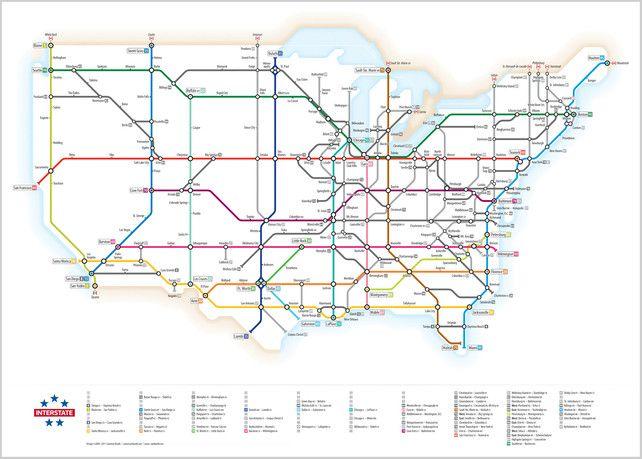 Beautiful subway-style map of US highways: London Underground, Highway Maps, Interst System, Interst Maps, Highway System, Subway System, Cameron Booths, Subway Maps, Interst Highway