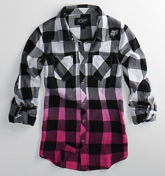 Fox Racing ombre buffalo check button-up. One of my favorite eBay finds!