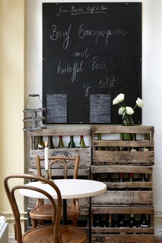 Love the idea of repurposing old crates as shelving. The chalkboard wall is a nice touch, but I could only see having something like that in my kitchen.