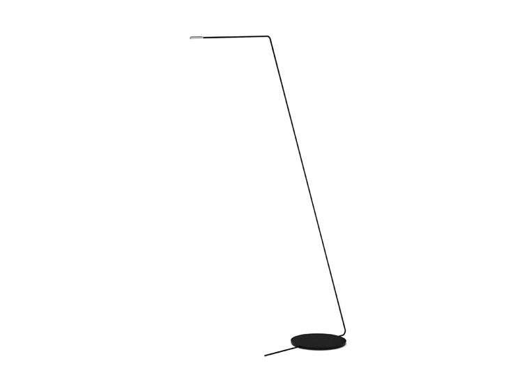 Floor standing Indoor lighting fixture IP20. Extrusion manufactured arm and steel base. Finished in chrome and black.
