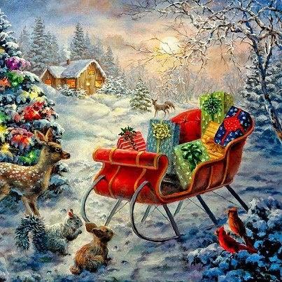 Santa's sleigh .@@@@@.....http://www.pinterest.com/jennifergbrock/vintage-christmas-images-art-illustration-that-evo/
