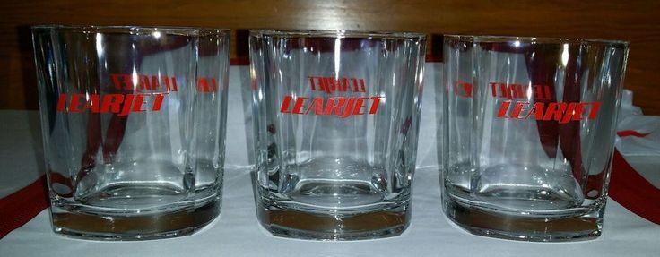 Vintage Aviation Rare LEARJET Liquor Glasses Rocks Whisky Old Fashioned LOT of 3