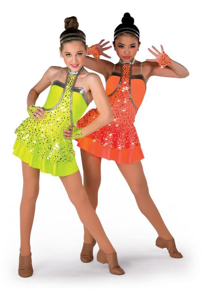 Dance Costume Large Child Neon Green Jazz Tap Clogging Solo