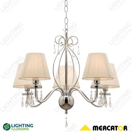White Indiana 5 Light String Shade w/ Clear Glass Beads Pendant - Shop - Lighting Illusions Online