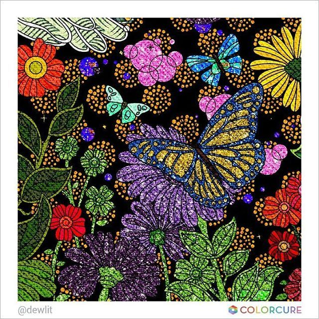 #butterfly #flower #garden #glitter #star #peace #canvas #beautiful #illusion #feel #red #yellow #colorcure #adultcoloring #coloringappforadults #색칠공부 #색칠놀이 #어른색칠 #색칠스타그램 #painting #sketch #art #therapy #leaf #나비