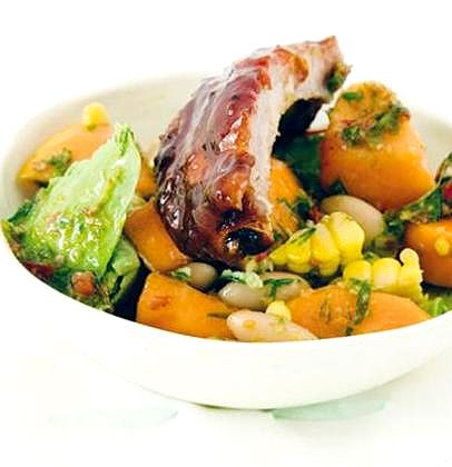 BRAAI: Sticky spare ribs served with fresh sweet corn, avocado, bean and pawpaw salsa
